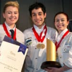 CPIT restaurant student Gina Johns, with CPIT chef students Daniel Hoare and Hannah Grieve