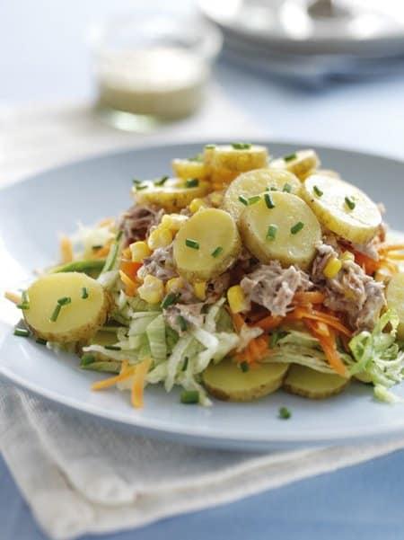 Potato, tuna and sweetcorn salad