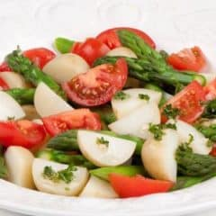 Potato, tomato and asparagus salad