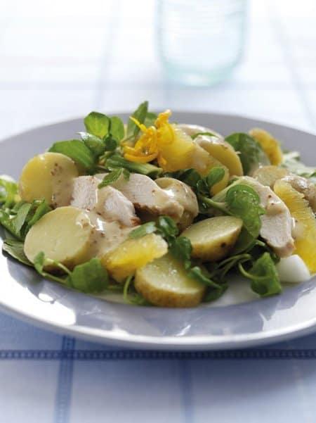Watercress, orange, potato and chicken salad
